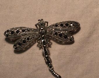 Vintage Handmade Genuine Marcasite 925 Sterling Silver dragonfly Brooch