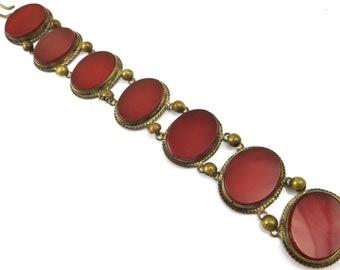 Antique Bracelet, Victorian Bracelet, Antique Handmade Jewelry, Red Orange Carnelian Glass, Victorian Jewelry, Antique Jewelry