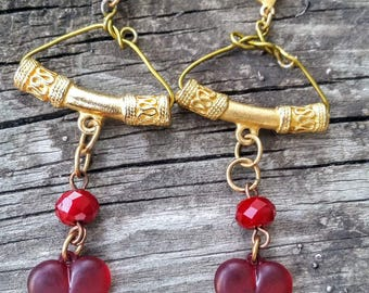Neoclassical RED puffy Heart dangle Earrings .Gold brass Miniature 14k gold fill Wire Hanger design. The Baroque Princess originals.