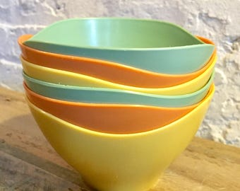 1970s Plastic Nesting Bowls Mod Retro Colors Green, Mustard and Orange Stacking Snack at VintageHeist