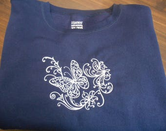 Sweatshirts/ Ladies/ Size XL Sweatshirt/ Butterfly Embroidery/ Navy Sweatshirt/ Women's Clothing/Birthday Gift/ Gift for Mom or Grandma