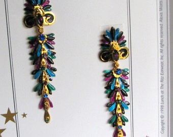 """Lunch At The Ritz """"Scroll And Feather"""" Post Earrings"""