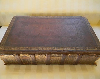 Antique 1824 Large Holy Bible, BROWN'S FAMILY BIBLE, The Self Interpreting Bible