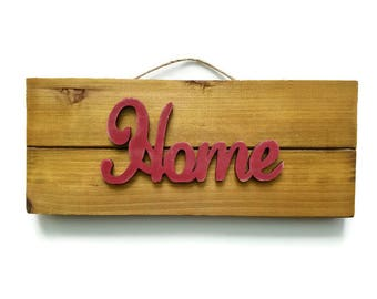 Home sign, rustic pallet decor, distressed wood, dark red, twine for hanging, shabby chic, gallery wall decor, entryway decor