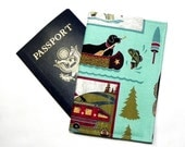 Passport Cover - Passport Holder - Gone fishing - Camping Canoe - Black labrador