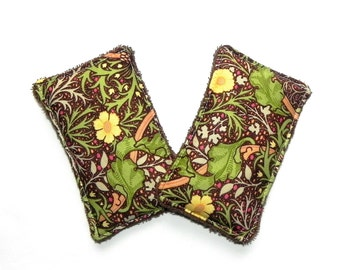 Unsponges - Set of 2 Kitchen, Shower or Bath reusable eco friendly sponges - Brown, green, yellow floral
