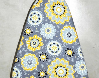 Tabletop Ironing Board Cover - Grey, yellow, black and white flowers -  Laundry and Housewares