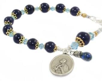 Mother's Rosary Bracelet, Saint Monica Medal, Blue Goldstone Beads