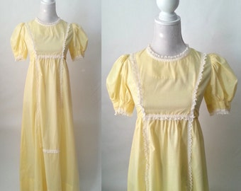 Vintage 1970s Yellow and White Polka Dot Cotton Maxi Dress, Girl's or Teen or Petite Woman