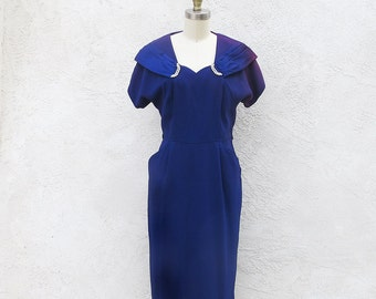 Vintage 40s Cobalt Blue Short Crepe Dress