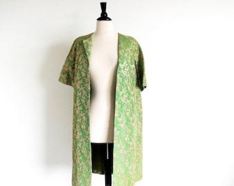 On sale Vintage 50s Green Coat, 50s 60s Evening Coat, Brocade Jacket, Short Sleeve Coat
