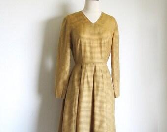 On sale Vintage 50s Butterscotch Dress, Cotton Checkered Dress,1950 Long Sleeve Dress