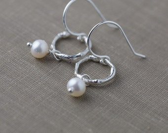 Silver Twig & Pearl Earrings, Tree Branch Earrings Silver, Wife Anniversary Gift, Bridesmaids Gifts, Jewelry by Burnish