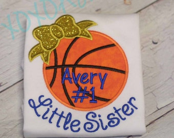 Girls Basketball Little Sister Shirt featuring a Glitter Bow and Name with Number-Many colors options- Applique Basketball Shirt or bodysuit