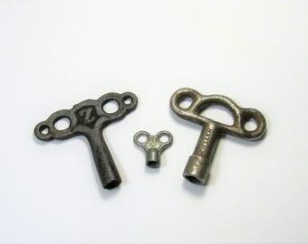 Vintage Metal Valve Keys: 3 Vintage Gas Keys, Clock Keys, Lot of Iron or Metal Keys