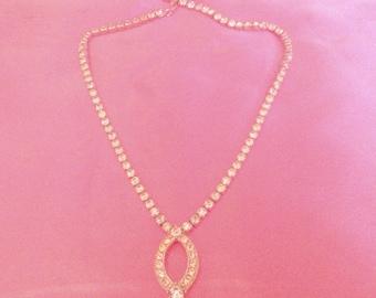 Vintage Sparkling Clear Prong Set Rhinestone Drop Necklace