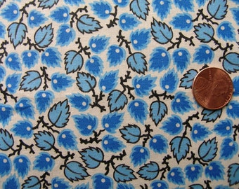 Vintage 50s COOL BLUE LEAVES Cotton Print Fabric // 4 yards 28 3/4 ins. long X 35 3/4 ins. wide
