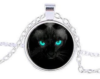 Black Cat Glass Cabochon Pendant Necklace