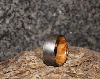 Wood Ring Size 5 - Olive wood and stainless steel ring, inner Wood sleeve