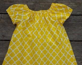 Girl's Infants Toddlers Sunshine Yellow Quatrefoil Peasant Dress