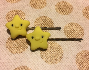 Little Star Bobby Pin Hair Clips - Polymer Clay - Art by Sarah Price
