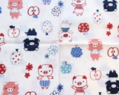 1/3 Yard Trefle Kokka Japan Cotton Quilting Fabric Out of Print OOP Little Piggies Cute Pigs in Polka Dot Shirts Red White Blue Pink
