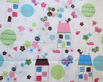 1 Yard Tweet Tweet Fabric Jillian Phillips Hoffman Cotton Quilting Fabric Out of Print OOP Girls Pastel Print Houses Birds Bees Flowers