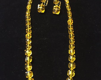 Vintage Beaded Necklace And Earrings From Germany