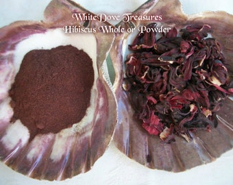Organic Hibiscus Flower - Whole or Powder 1 oz