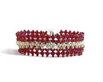 Red and Silver Beaded Bracelet - Seed Bead Jewelry - Band Bracelet - Beadwork Jewelry - Handmade Bracelet