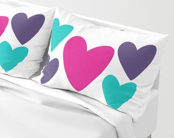 HEARTS Pillow Sham standard or king SET OF 2, Romantic White Purple Magenta Turquoise Blue Modern Bedding, Bright vivid colors Love Marriage