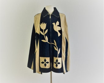 Vintage 70s Mexican suede poncho - 1970s blue and tan leather graphic cape with bird and tulip - medium