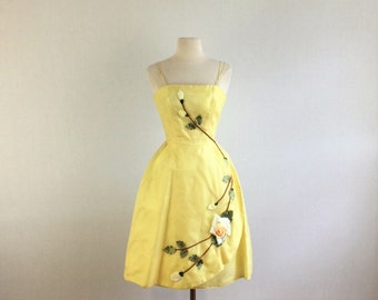 Vintage 50s Audrey  cocktail dress - 1950s yellow rosette silk party dress - extra small