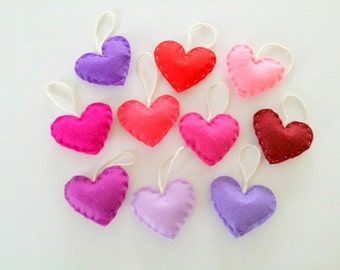 Home Decor Heart Ornaments, Home Decorations, Assorted Felt Hearts, Love Sign, Love Is In The Air, Set of 10 Hearts, Hanging Hearts