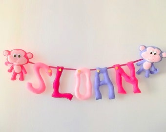 Monkey Nursery Decor, Felt Name Banner, Monkey Baby Shower, Custom Pink Rose Letters Garland, Monkey Mobile, It's a girl banner, Photo Props