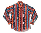 16 1/2-35 |med/lrg| Bold Print Wrangler Western Shirt with X-Long Tails & Dream Catcher Pattern
