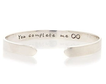 You Complete Me Silver Cuff