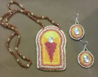 Little girl's powwow necklace and earrings