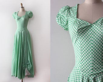 vintage 1940s gown // 40s green gingham cotton gown