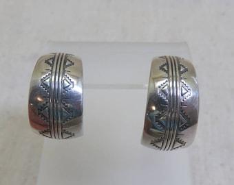Hoop Pierced Earrings, Solid Sterling Silver, Post Style, Native American Hoop Earrings