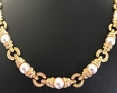 Jacqueline Kennedy JBK Signiature Collar With Rhinestones and Faux Pearls