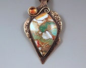 Kingman Turquoise, Orange Spiney Oyster, and Amber - Smoky Bronze Patina- Metal Art Necklace by RedPaw