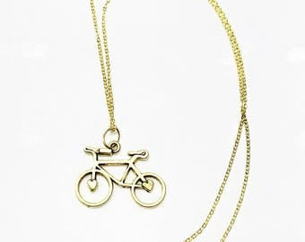 Collectible steampunk bicycle gold plated necklace