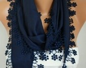 ON SALE --- Dark Blue Floral Pashmina  Scarf,Fall,Christmas, Cowl Scarf with Lace Edge   - Necklace Scarf