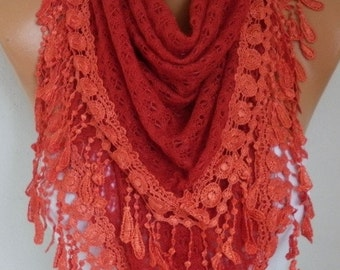 ON SALE --- Red Knitted Lace Scarf, Shawl, Winter Scarf , Cowl Oversized Bridesmaid Bridal Accessories Gift Ideas For Her, Women Fashion Acc