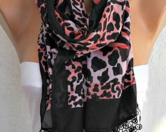 ON SALE --- Black  Leopard  Print Cotton Scarf,Fall Shawl Animal Scarf,Christmas Gift, Cowl Scarf Lace Gift Ideas For Her Women Fashion Aces