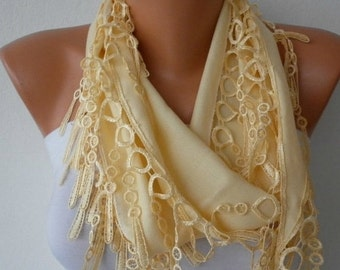 ON SALE --- Light Yellow Pashmina Scarf Birthday Gift Summer scarf Easter Cowl, Necklace,Bridesmaid Gift Gift Ideas For Her Women Fashion Ac