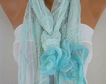 ON SALE --- Mint Lace Floral Scarf,Wedding Shawl,Bridal Scarf, Cowl,Bridal Accessories bridesmaid gift Gift Ideas For Her Women's Fashion Ac