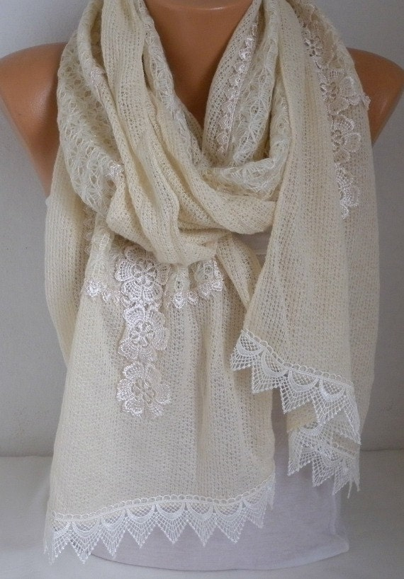 Ivory Floral Knitted Scarf,Wedding Shawl, Winter Scarf,Cowl,Bridesmaid Bridal Accessories Gift Ideas For Her Women Fashion Accessories