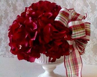 Christmas Arrangement, Life like Flowers, Red Hydrangeas, Holiday Table Top Arrangement, Shabby Cottage decor, Home Staging
